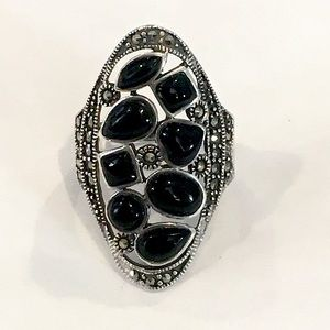 Vintage Marcasite Onyx Sterling Silver Ring